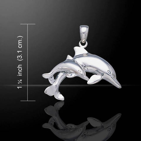 Image of Mother And Baby Dolphin Sterling Silver Necklace