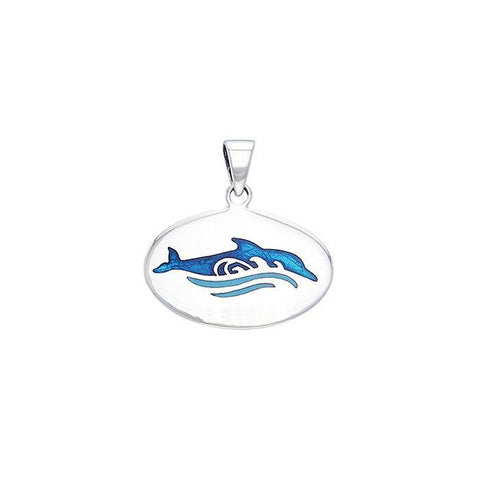 Image of Dolphin And Waves Sterling Silver Necklace
