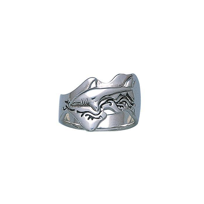 Great White Shark Sterling Silver Ring