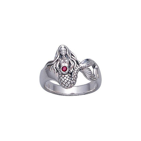 Image of Mermaid Sterling Silver Ring with Gemstones