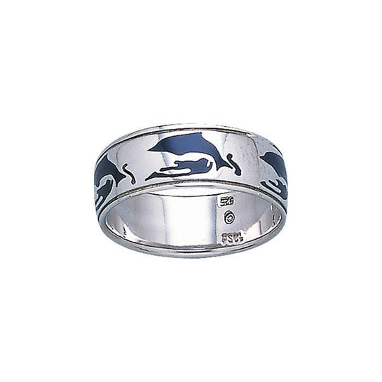 Dolphins Sterling Silver Ring Band
