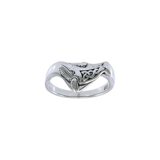 Celtic Accent Humpback Whale Sterling Silver Ring - scubadivingaddicts