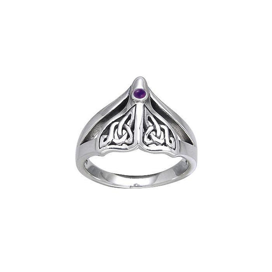 Celtic Accent Whale Tail Sterling Silver Ring - scubadivingaddicts