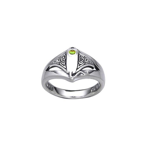 Celtic Manta Ray With Gemstone Sterling Silver Ring - scubadivingaddicts