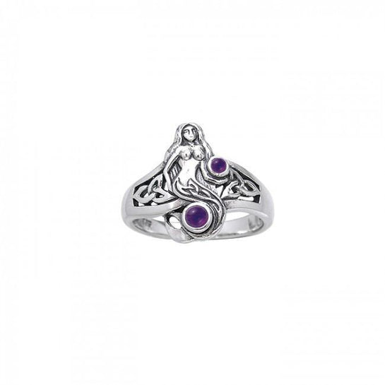 Celtic Mermaid Sterling Silver Ring - scubadivingaddicts