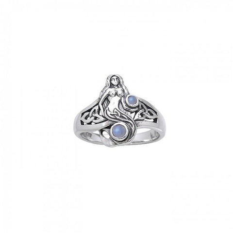Image of Celtic Mermaid Sterling Silver Ring - scubadivingaddicts