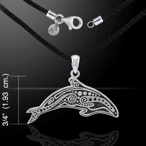 Aboriginal Orca Whale Silver Necklace - scubadivingaddicts