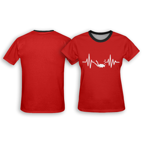 Image of Scuba Diving Heartbeat Women's All Over Print T-Shirt