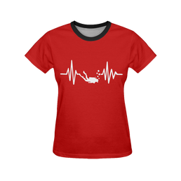 Scuba Diving Heartbeat Women's All Over Print T-Shirt