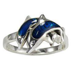 Twin Dolphins Sterling Silver with Paua Shell Accent Ring - scubadivingaddicts