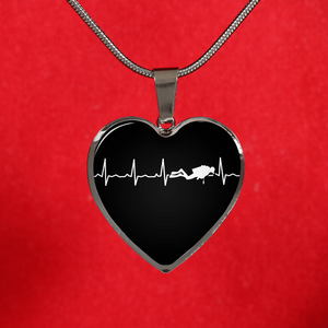 Scuba Is My Heartbeat Black Heart Necklace