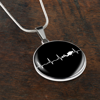 Scuba Is My Heartbeat Circle Necklace