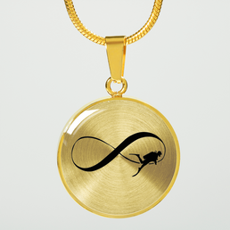 Infinity Scuba Gold Pendant Necklace and Bangle