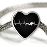 Scuba Is My Heartbeat Black Heart Charm Bracelet