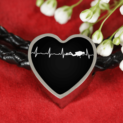 Scuba Is My Heartbeat Black Heart Braided Bracelet