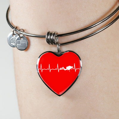 Scuba Is My Heartbeat Red Heart Necklace