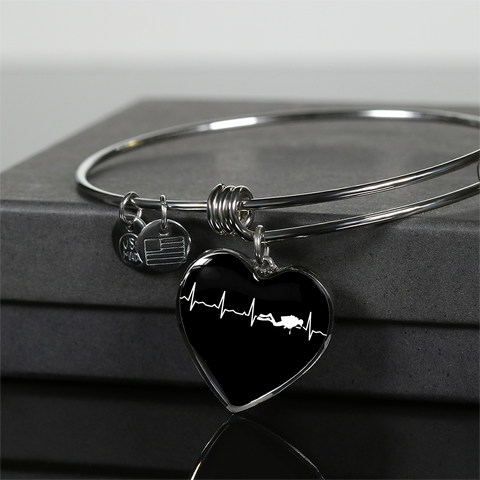 Image of Scuba Is My Heartbeat Black Heart Necklace
