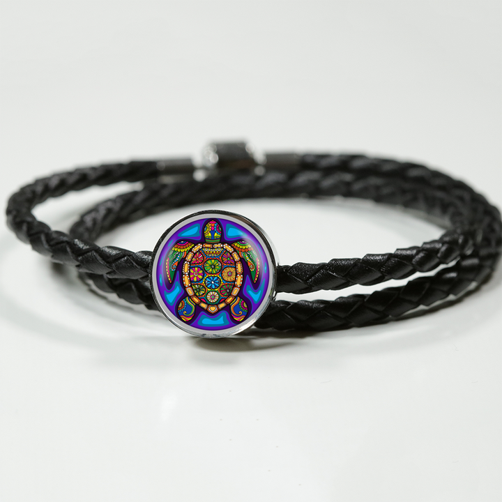 Turtle Gem Double Braided Leather Bracelet
