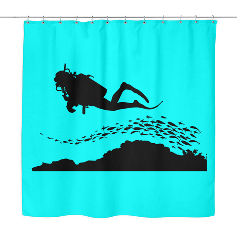 Image of Scuba Diver Shower Curtain