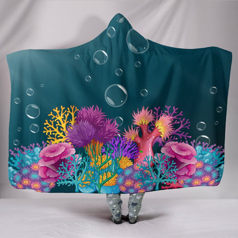Corals Hooded Blanket