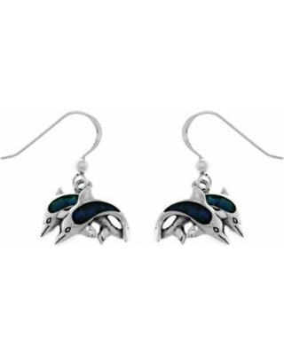 Twin Dolphins Sterling Silver Paua Shell Earrings