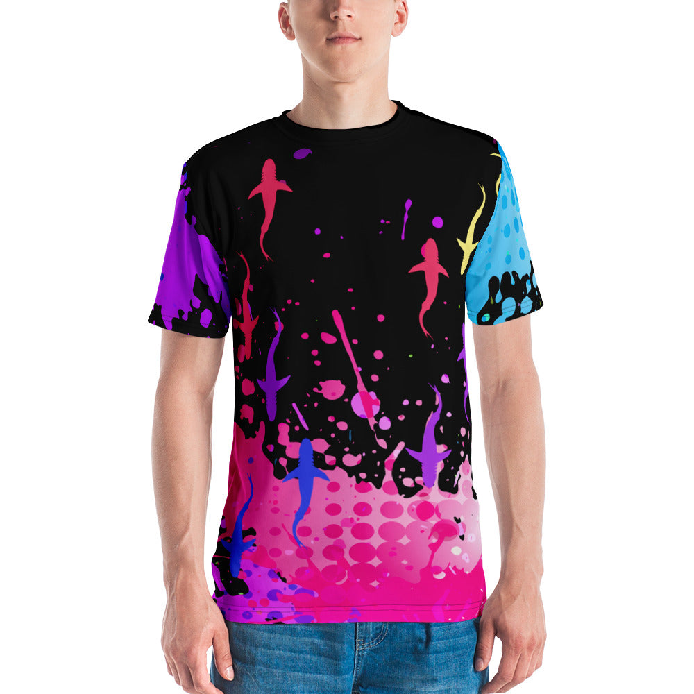 Colorful Sharks Mens Crewneck Shirt