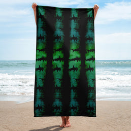 Green Hammerhead Shark Beach Towel