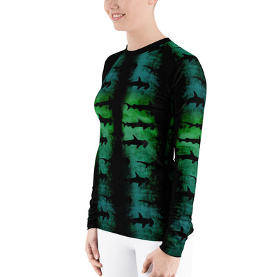 Green Hammerhead Sharks - Women's Rash Guard (Warehouse)