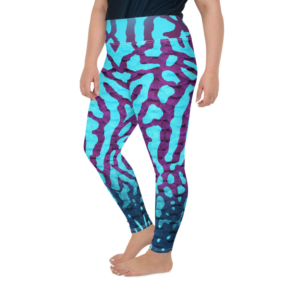 Royal Discus Plus-Size Leggings