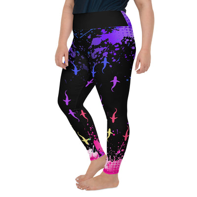 Colorful Sharks Plus-Size Leggings