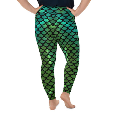 Mermaid Tail Green Plus-Size Leggings