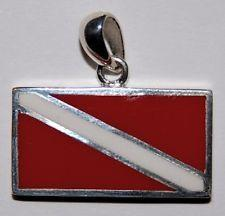 Dive Flag Sterling Silver Necklace - scubadivingaddicts