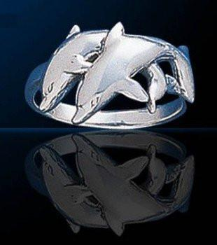 Twin Dolphins Sterling Silver Ring - scubadivingaddicts