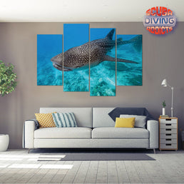 Whale Shark in Maldives 4 Piece Canvas