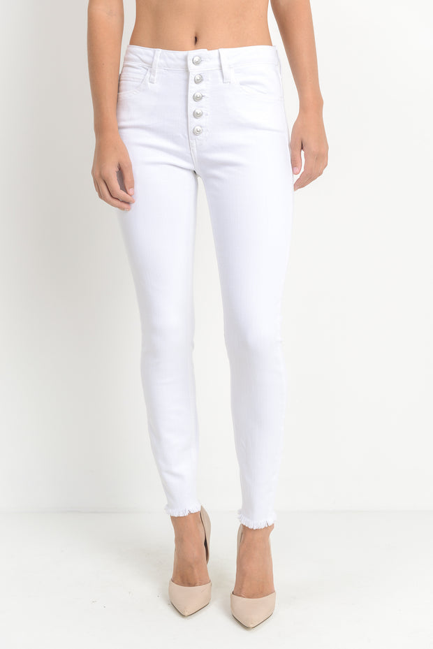 WHITE BUTTON-DOWN SKINNY