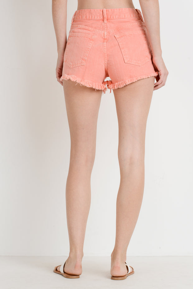 PEACH HIGH RISE FRAY SHORTS