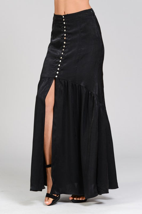 SATIN BUTTON MAXI SKIRT