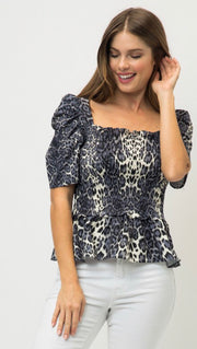 GREY ANIMAL PRINT TOP
