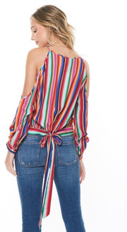 STRIPE TIE NECK BLOUSE