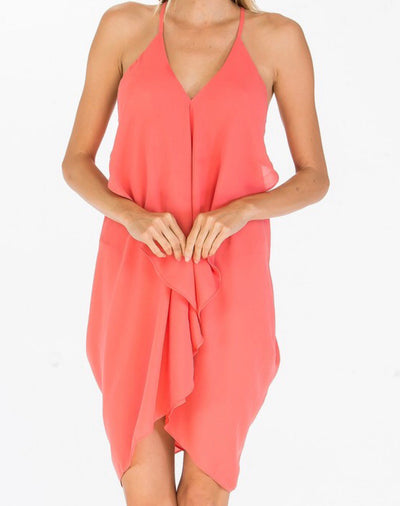 CORAL RUFFLED DRESS