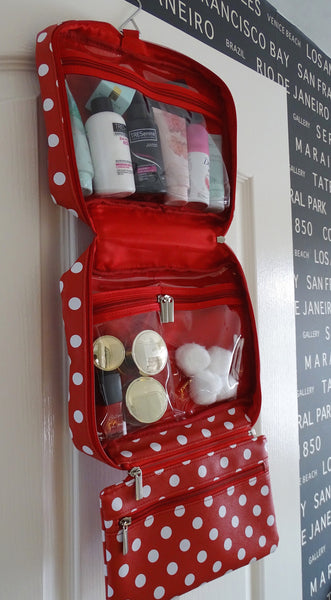 Red Polka Dot Hanging Wash Bag with contents