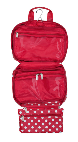 Red Polka Dot Hanging Toiletry Bag Open