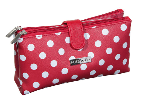 Red Polka Dot Double Pocket Cosmetic Purse
