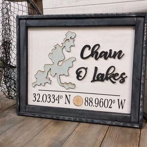 "21x26 ""Any Lake"" With Coordinates"