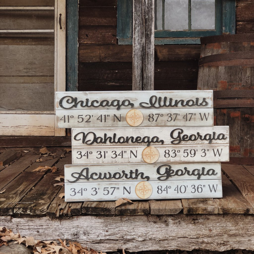 "7x30 ""Any City"" Coordinate Sign"