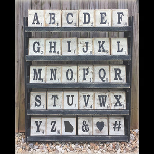 Letter Tile Display with Trays