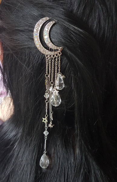 Crystal Crescent Moon Hair Clip (Silver Colour)