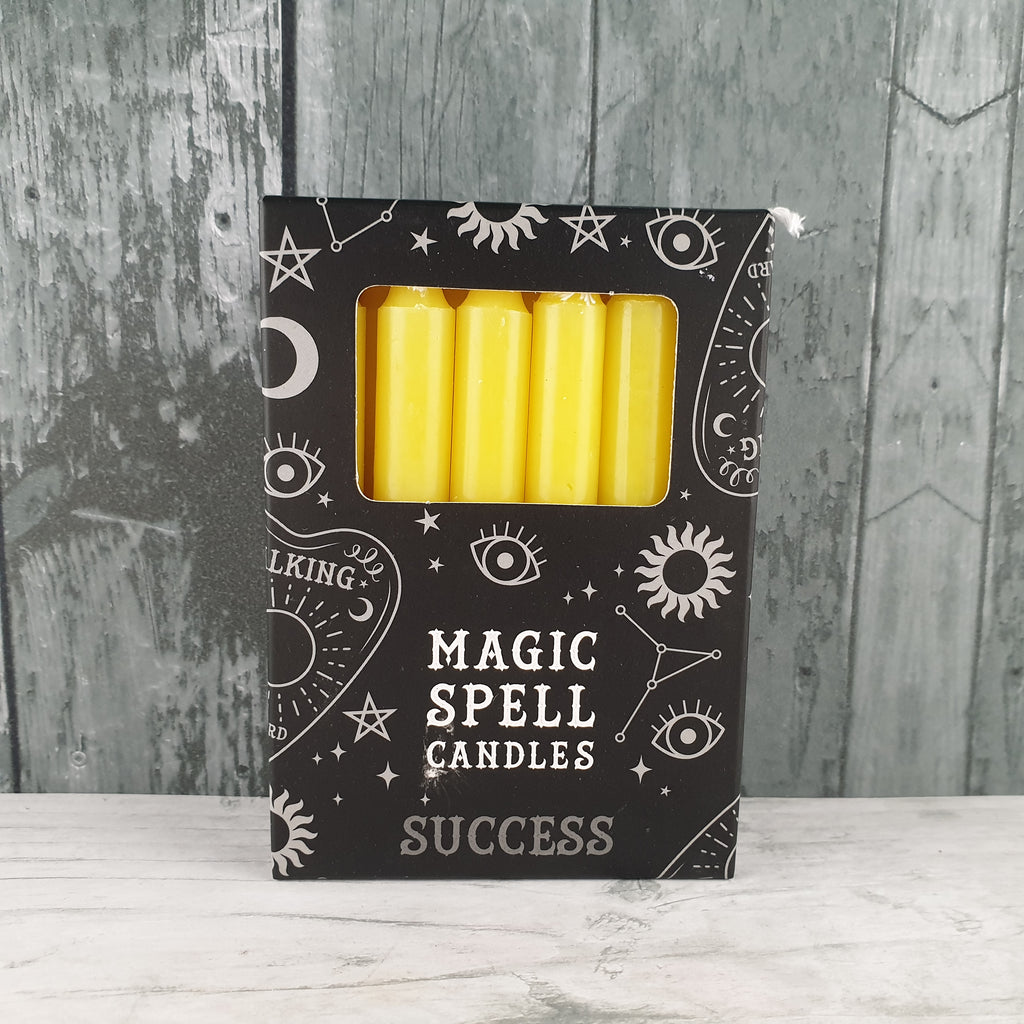 Pack of 12 Yellow 'Success' Spell Candles