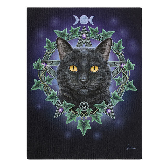 The Charmed One Black Cat Canvas Plaque by Lisa Parker