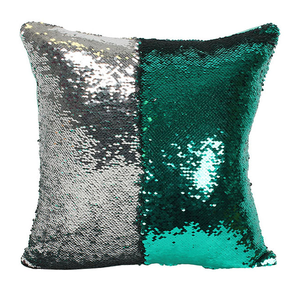 Reversible Silver and Green Sequin Filled Cushion